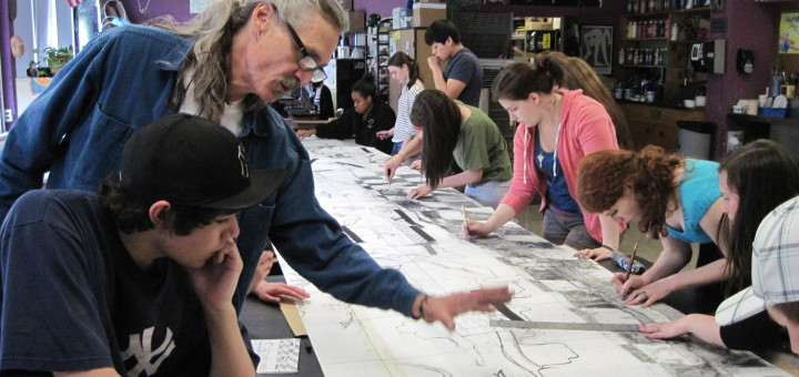 Artist Richard Prouse works with RHS Student